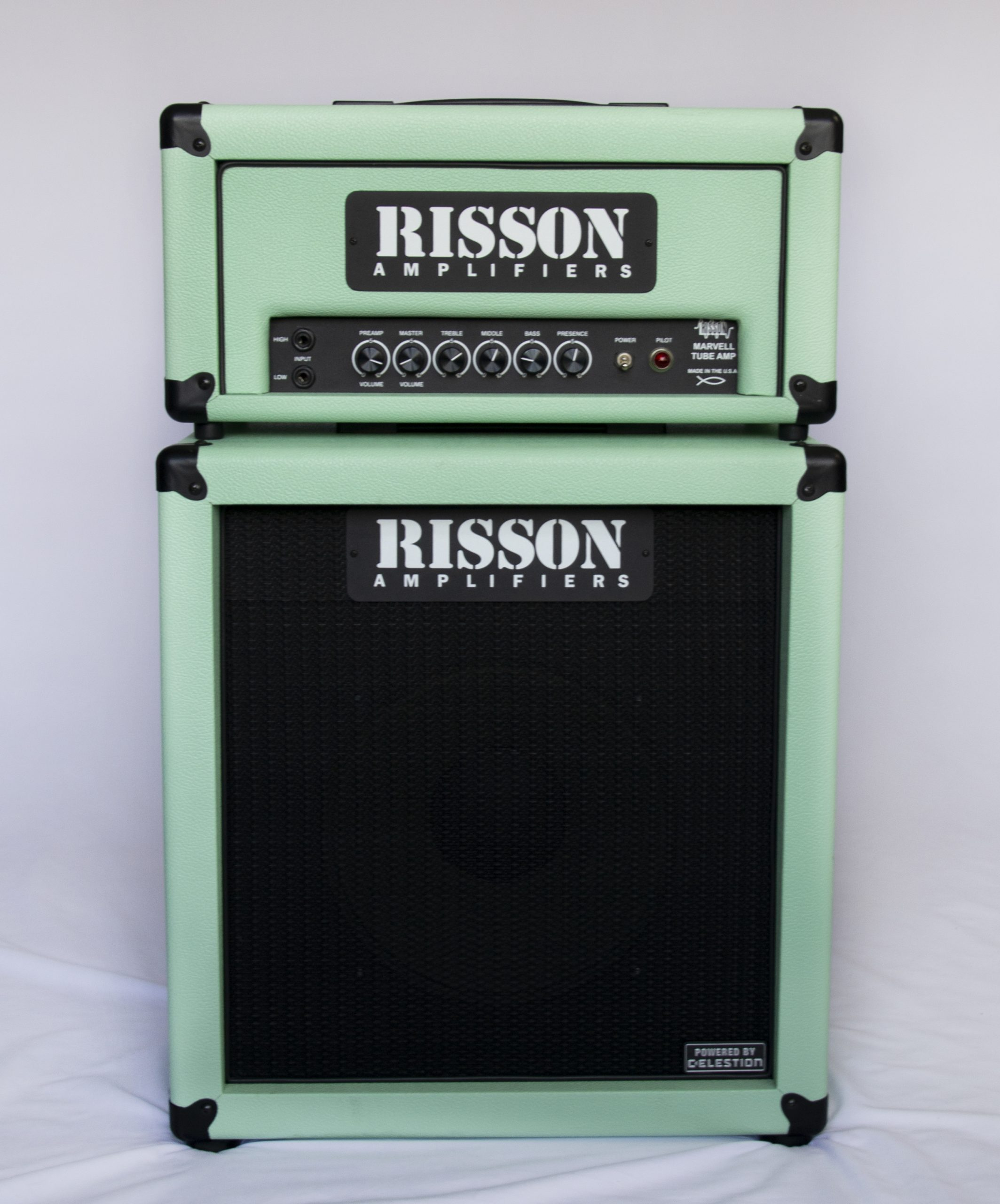 Risson AP40 Amplifier in Sea Foam Green with matching speaker cabinet